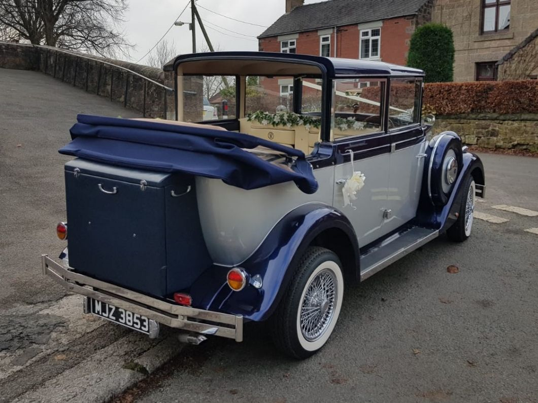 Navy & Silver 6 Seater Regent Landaulette Wedding Car