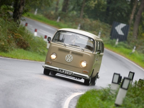 VW Camper Van Wedding Car On Open Road